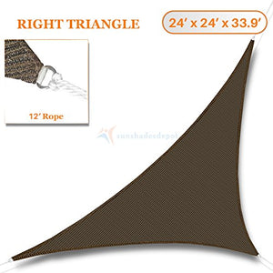 Sunshades Depot 24' x 24' x 33.9' Sun Shade Sail Right Triangle Permeable Canopy Brown Coffee Custom Size Available Commercial Standard 180 GSM HDPE