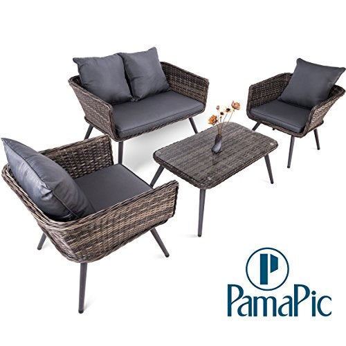 Pamapic 4 Piece Outdoor Patio Wicker Furniture Sets With Cushions