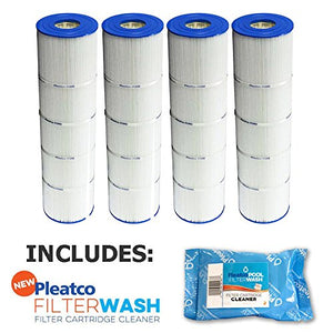 4 Pack Pleatco Cartridge Filter PJAN85-PAK4 Pack of 4 Jandy CL340 A0557900 w/ 1x Filter Wash