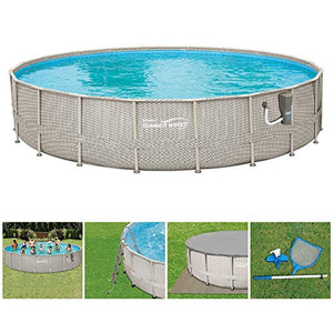 "Summer Waves 20' x 48"" Above Ground Backyard Swimming Pool Set w/Ladder & Cover"
