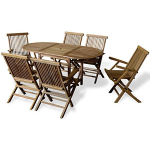 Festnight 7 Piece Outdoor Wood Dining Set with Extendable Table Teak