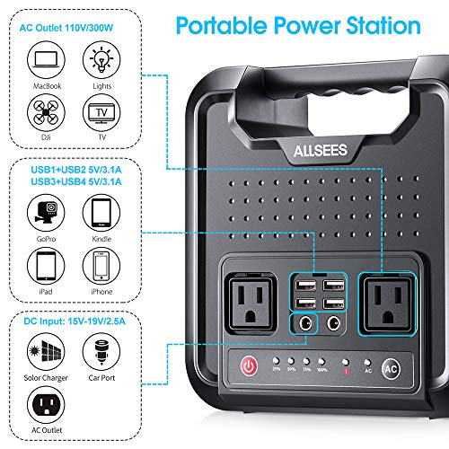 Allsees Case of 4 Packs, Power Station –300W|220Wh Portable Generator, Multifarious Rechargeable Power Source with DC/AC Inverter, Dual 110V AC Outlet, Dual DC Ports,CPAP or Emergency Backup