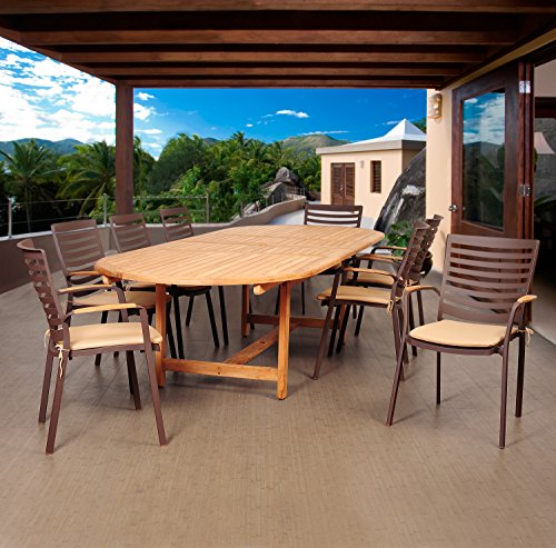 Brampton Teak 9-pc 9 Patio Dining Set, Brown