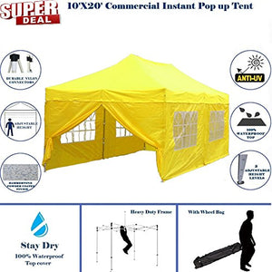 10'x20' Pop UP Canopy Wedding Party Tent Instant EZ UP Canopy Yellow - F Model Commercial Frame By DELTA