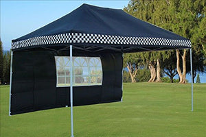 10'x15' Ez Pop up Canopy Party Tent Instant Gazebos 100% Waterproof Top with 4 Removable Sides Black Checker - E Model By DELTA Canopies