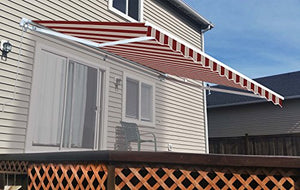 ALEKO AW13X10MSTRRE19 Retractable Patio Awning 13 x 10 Feet Multi-Stripe Red