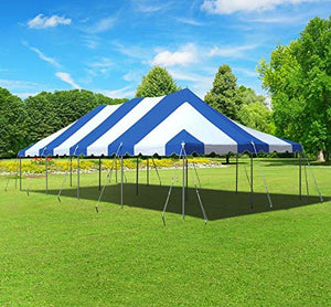 20-Foot by 40-Foot Blue and White Pole Tent, Commercial Canopy Heavy Duty 16-Ounce Vinyl for Parties, Weddings, and Events