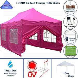 10'x20' Ez Pop up Canopy Party Tent Instant Gazebos 100% Waterproof Top with 6 Removable Sides Pink - E Model By DELTA Canopies