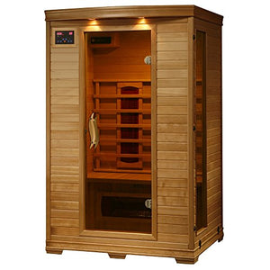 2-Person Hemlock Deluxe Infrared Sauna w/ 5 Ceramic Heaters