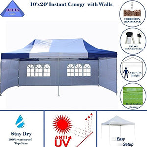 10'x20' Ez Pop up Canopy Party Tent Instant Gazebos 100% Waterproof Top with 6 Removable Sides Blue/White - E Model By DELTA Canopies