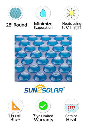 Sun2Solar Blue 28-Foot Round Solar Cover | 16 Mil | Heating Blanket for Above-Ground Swimming Pools