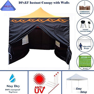 10'x15' Ez Pop up Canopy Party Tent Instant Gazebos 100% Waterproof Top with 4 Removable Sides Orange Flame - E Model By DELTA Canopies