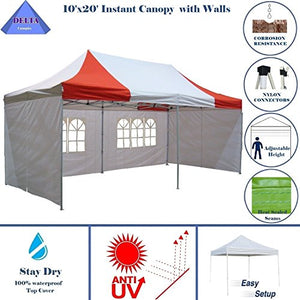 10'x20' Ez Pop Up Canopy Party Tent Instant Gazebos 100% Waterproof Top with 6 Removable Sides Red/White - E Model By DELTA Canopies