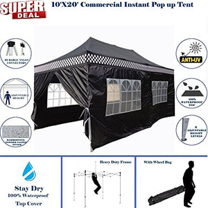 10'x20' Pop UP Canopy Wedding Party Tent Instant EZ UP Canopy Black Checker - F Model Commercial Frame By DELTA
