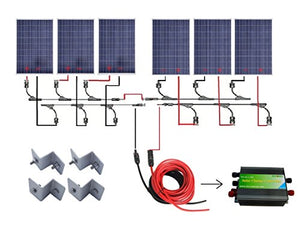 ECO-WORTHY 24 Volts 600 Watts Solar Kit: 6pcs 100W Poly Solar Panels + 45A PWM Charge Controller + Solar Cable + MC4 Connectors + Mounting Brackets for Off-Grid RV Boat