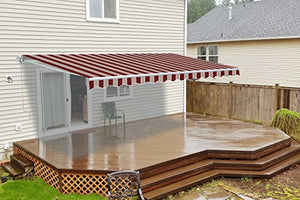 ALEKO AW10X8MSTRRE19 Retractable Patio Awning 10 x 8 Feet Multi-Stripe Red