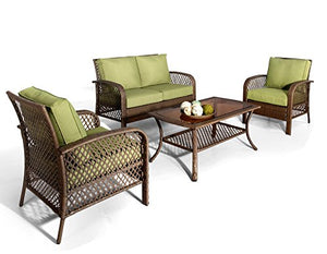 Ulax Patio 4 Piece Outdoor Deep Seating Wicker Furniture Sofa Set, Green