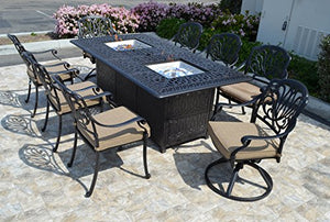 "Elizabeth Cast Aluminum Powder Coated 9pc Dining Set SUNBRELLA with 44""x84"" Propane Fire Pit Double Burner Dining Table - Antique Bronze"