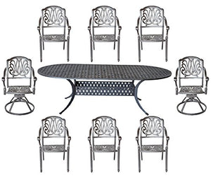 "9pc Cast Aluminum Outdoor Patio Set with Nassau 42""x102"" Oval Table Elisabeth Chairs Bronze"