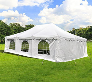 20-Foot by 30-Foot Deluxe White Canopy Pole Complete Outdoor Party Tent Set with Two Cathedral Sidewalls & Two Solid Sidewalls, Storage Bag, Stakes, Ropes, and Poles for Weddings, Events, Parties