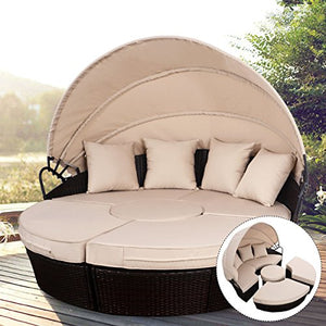TANGKULA Patio Furniture Outdoor Lawn Backyard Poolside Garden Round with Retractable Canopy Wicker Rattan Round Daybed, Seating Separates Cushioned Seats (4 pillows brown)