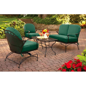 4-piece Outdoor Patio Conversation Set, Green, Furniture Seats 4 relax in out in your backyard in comfort all season long with this set. The steel frame has a durable, powder-coated, carefree finish, and the cushions keep their Green color thanks to a UV-