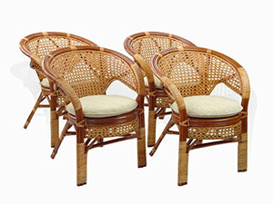 5 Pc Pelangi Rattan Wicker Dining Set Round Table Glass Top + 4 Arm Chairs. Colonial Color