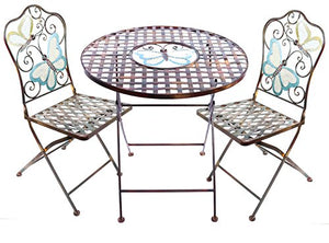 Alpine Corporation Butterfly Table and Two Chairs Bistro Set