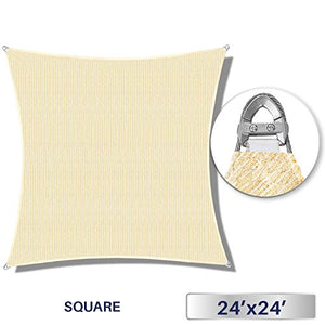 Windscreen4less A-Ring Reinforcement Large Sun Shade Sail 24' x 24' Rectangle Super Heavy Duty Strengthen Durable(260GSM)-Galvanized Cable Enhanced-Beige/7 Year Warranty