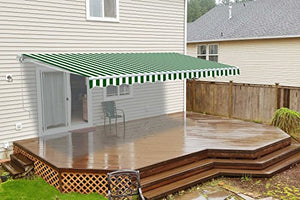 ALEKO AW12X10GWSTR00 Retractable Patio Awning 12 x 10 Feet Green and White Striped