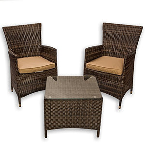 Mountain River Home Décor 3 Piece Wicker Bistro Set – Set of 2 Chairs, comfy cushions, and table with tempered glass, NO ASSEMBLY REQUIRED