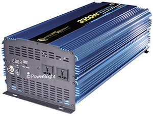 PowerBright ERP3500-12 3500W 220V/50Hz 12 Volt DC Power Inverter, 3500W Continuous Power, 7000W Peak Load Power Rate, Anodized Aluminum Case Provides Durability & Max Heat Dissipation