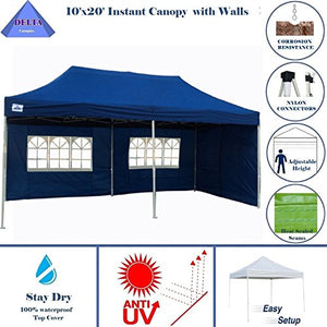 10'x20' Ez Pop up Canopy Party Tent Instant Gazebos 100% Waterproof Top with 6 Removable Sides Navy Blue - E Model By DELTA Canopies