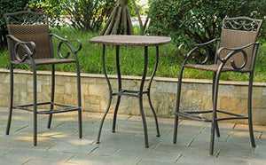 3-Pc Outdoor Bistro Set in Antique Brown Finish