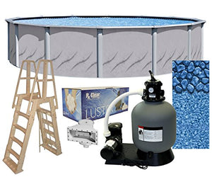 Galeria 18-Foot-by-52-Inch Round Above-Ground Swimming Pool Complete Bundle Kit | Boulder Swirl Pattern Overlap Liner | A-Frame Ladder System | Filter Tank | 0.75-HP Pump | Wide-Mouth Skimmer