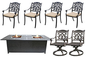7 Piece Propane Fire Pit Table Set Cast Aluminum Patio Flamingo Mandalay Furniture Bronze.