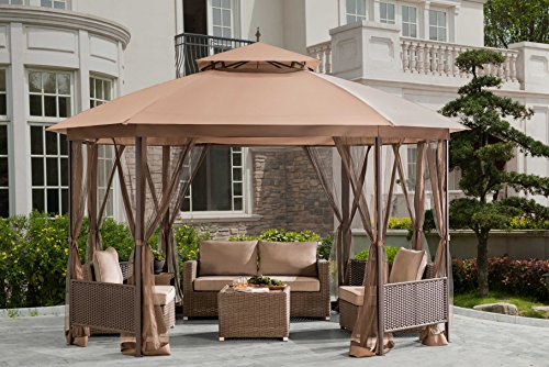Sunjoy Octagonal Patio Softtop Gazebo With Netting Wicker