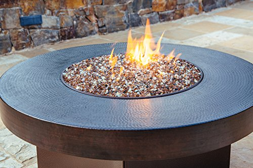 "All Backyard Fun Hammered Copper 42"" Round Oriflamme Fire Table Gas Fire Pit Table"
