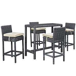 Modern Contemporary Urban Outdoor Patio Balcony Five PCS Pub Bar Chairs and Table Set, Beige, Rattan