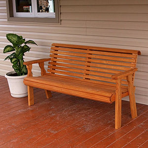 Amish Heavy Duty 800 Lb Roll Back Pressure Treated Garden Bench (4 Foot, Cedar Stain)