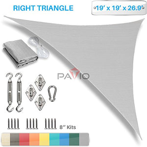Patio Paradise 19' x 19' x 27' Sun Shade Sail with 8 inch Hardware Kit, Light Grey Right Triangle Canopy Durable Shade Fabric Outdoor UV Shelter - 3 Year Warranty - Custom Size Available