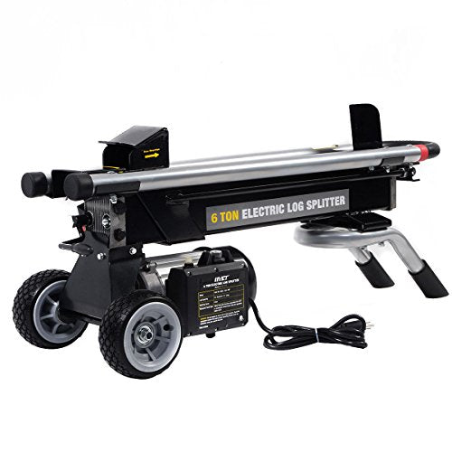 Globe House Products GHP 1500W 3450RPM No-Load Speed 6-Ton Splitting Force Hydraulic Wood Log Splitter