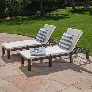 (Set of 2) Estrella Outdoor PE Wicker Adjustable Chaise Lounge Chairs w/ Cushions
