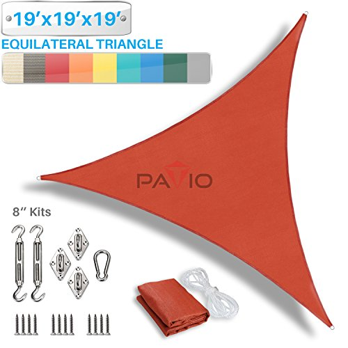 Patio Paradise 19' x 19' x 19' Sun Shade Sail with 8 inch Hardware Kit, Red Equilateral Triangle Canopy Durable Shade Fabric Outdoor UV Shelter - 3 Year Warranty - Custom Size Available