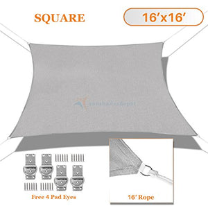 Sunshades Depot 16' x 16' Solid Light Grey Sun Shade Sail Square Permeable Canopy Tan Beige CustomSize Available Commercial Standard