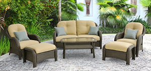 Hanover Newport 6-Piece Outdoor Wicker Lounge Set, Brown/Tan