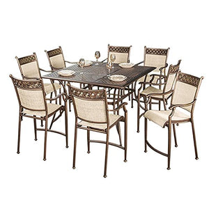 "55"" 11 Pc. Beautiful Bronze Colored Aluminum Outdoor Patio Bar Table Set"