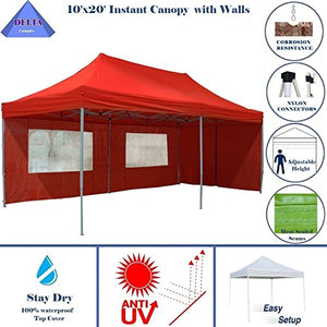 10'x20' Ez Pop up Canopy Party Tent Instant Gazebos 100% Waterproof Top with 6 Removable Sides Red - E Model By DELTA Canopies