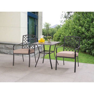 Outdoor Patio Three Piece Bistro Set with Durable Powder Coated Steel Frames Easy On Off Clip Reversible Cushions with Polyester Filling and Ceramic Tile Top with Decorative Metal Centerpiece