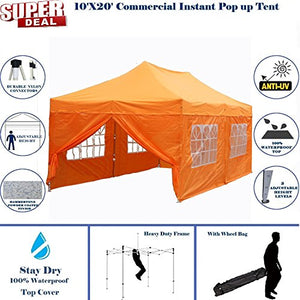 10'x20' Pop UP Canopy Wedding Party Tent Instant EZ Canopy Orange - F Model Commercial Frame By DELTA